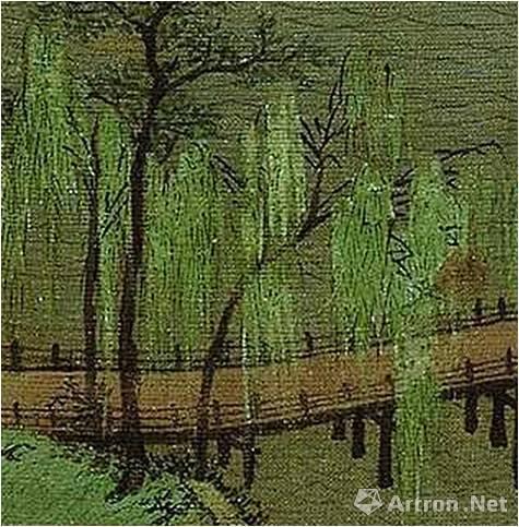《千里江山图》笔色互用的柳树画法
